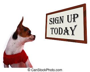 signe, haut, aujourd'hui, signe, projection, enregistrement, pour, chien, site web