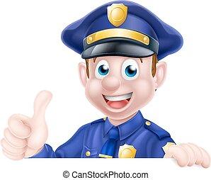 signe, haut, homme, pouces, police