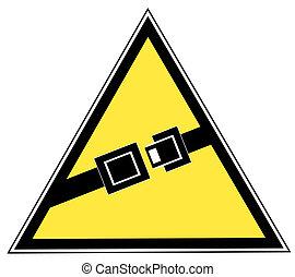 signe, haut, indiquer, jaune, seatbelt, boucle