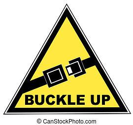 signe, haut, jaune, seatbelt, mots, boucle