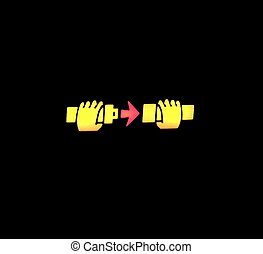 signe, haut, ligne aérienne, fin, seatbelt, attacher