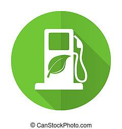 signe, icône, vert, carburant, plat, bio, biofuel