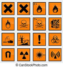 signe, illust, 16, commun, vecteur, danger