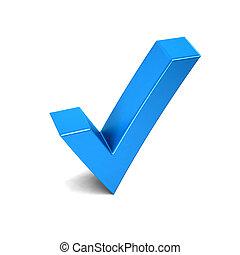 signe., illustration, marque, rendre, chèque, 3d