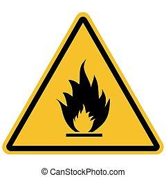 signe, inflammable, vecteur, illustration, matériels, avertissement