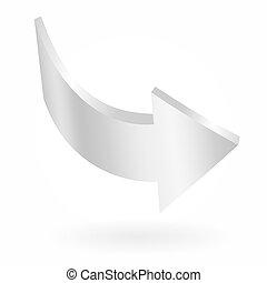 signe., isolé, arrow., vecteur, blanc, circulaire