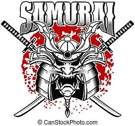 signe, katanas, grunge, t, étiquette, affiche, arrière-plan., concevoir élément, shirt., samouraï, traversé, emblème, logo, casque, gabarit