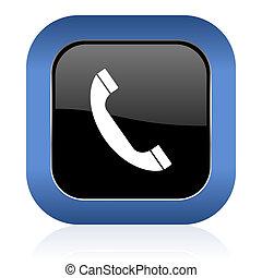 signe, lustré, carrée, téléphone, téléphonez icône