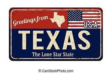 signe, métal, rouillé, salutations, vendange, texas