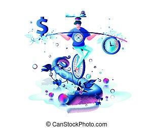signe, main, dollar, argent, temps, équitation, cirque,...