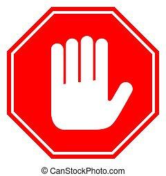 signe main, pas, arrêt, vecteur, entrer, illustration