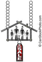 signe, maison, métal, -, vente, mètre, famille
