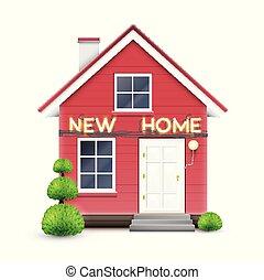 signe, maison, 'new, réaliste, vecteur, home'