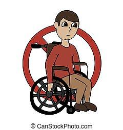 signe., menaçant, isolé, personne, interdit, gens, disabilities., dessin animé, wheelchair., interdiction, vecteur, illustration