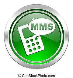 signe, mms, téléphone, vert, bouton, icône