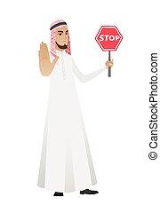 signe., musulman, arrêt, tenue, homme affaires, route