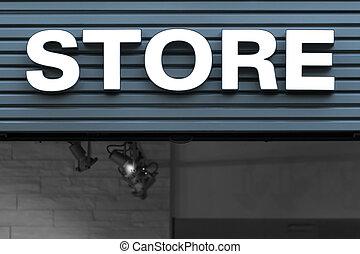 signe, néon, blanc, magasin