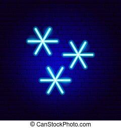 signe néon, flocons neige