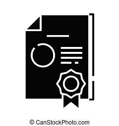 signe., noir, business, plat, icône, récompenses, illustration, symbole, concept, vecteur, glyph