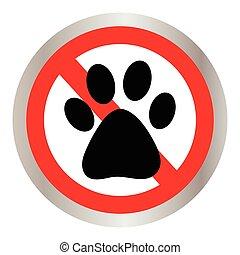 signe, non, icon., chien, patte