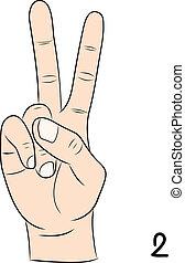 signe numéro, langue, 2