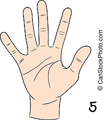 signe numéro, langue, 5