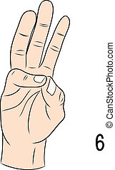 signe numéro, langue, 6