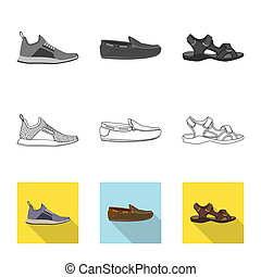 signe., objet, web., isolé, collection, chaussures, pied, chaussure, symbole, stockage