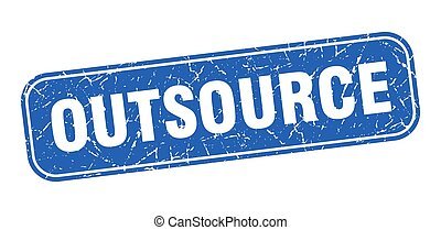signe, outsource, carrée, bleu, grungy, stamp.