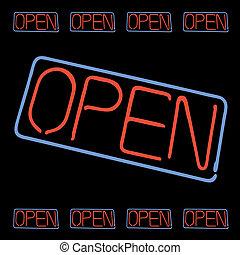signe ouvert, néon