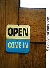 signe ouvert, sur, porte