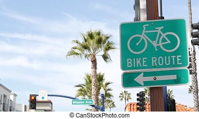 signe, pacifique, palm., californie, route, vert, style de vie, singpost., enseigne, resort., usa., récréation, sécurité, oceanside, cycleway, vélo, sain, symbole, touriste, cyclisme, routage vélo, bikeway, couloir