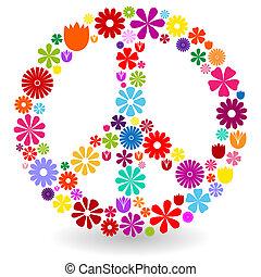 signe paix, fait, de, fleurs