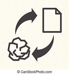signe, paper., recyclage, conceptuel, vecteur, conception, recycler, icône