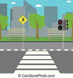 signe, passage clouté, route, vide, trafic, rue, lumière ville