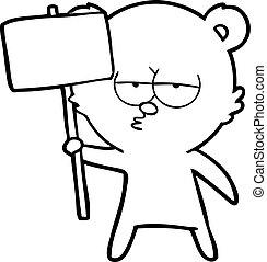 signe, percé, ours, polaire, dessin animé