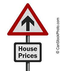 signe, photo, isolé, 'house, réaliste, prix, blanc, rise'