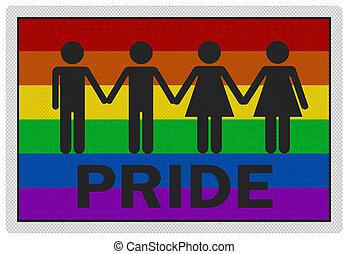 signe, photo, -, isolé, réaliste, 'gay, blanc, pride'
