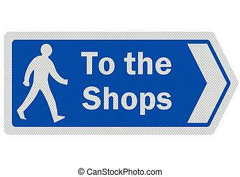signe, photo, isolé, 'to, réaliste, blanc, shops'