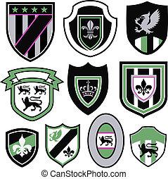signe, portez symbole, écusson, emblème