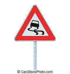 signe, poteau indicateur, quand, isolé, glissant, mouillé, trafic, route
