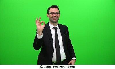 signe, présentation affaires, homme, ok, projection, positif, vert, écran