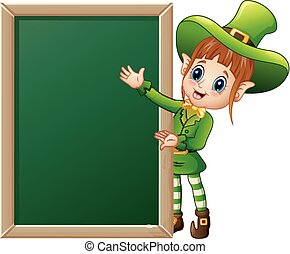 signe, présentation, lutin, girl, dessin animé, tableau