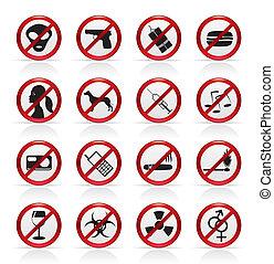 signe, prohibition, icônes