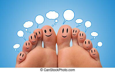 signe, réseau, heureux, social, doigt, groupe, smileys