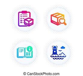 signe., recherche, paquet, instruction, paquet, liste contrôle, phare, information, vecteur, icônes, set.