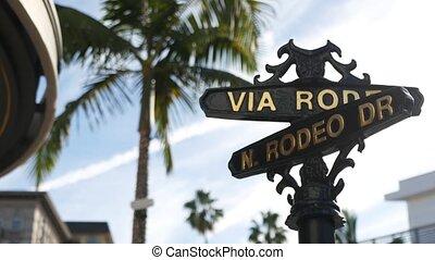signe, riche, symbole, angeles, rodéo, los, mondiale, riche, concept., rue, magasins, usa., vie, beverly, conduire, californie, touristique, high-class, marques, consumérisme, intersection, luxe, croix, hills., célèbre