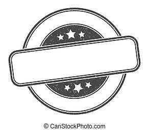 signe., rond, stamp., vide, étiquette, grunge