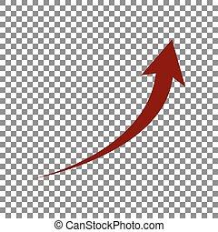 signe., rouge foncé, arrière-plan., flèche, croissant,...