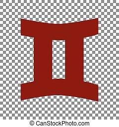signe., rouge foncé, arrière-plan., gémeaux, transparent, icône